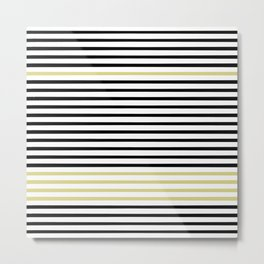 Black and White and Gold Stripes (Striped Pattern) Metal Print