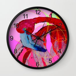 Contemporary Abstracted Tropical Flamingo Art Wall Clock