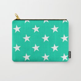 Turquoise X White Polka Stars Carry-All Pouch