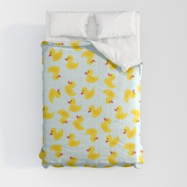 Cute Rubber Duck on Blue Background Comforters