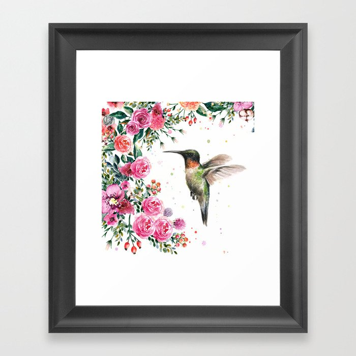 Hummingbird and Flowers Watercolor Animals Gerahmter Kunstdruck