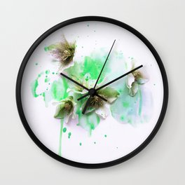 Hellebores on green water colors Wall Clock