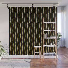 Art Deco Glitter-Gold Wavy Lines on Black Pattern Wall Mural