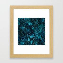 Starry Deep Blue Night Sky , Abstract Geometric Pattern with Moon Lit Domino Stars Framed Art Print