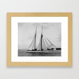 Arthur Curtiss James' schooner Coronet under sail in 1894 Framed Art Print