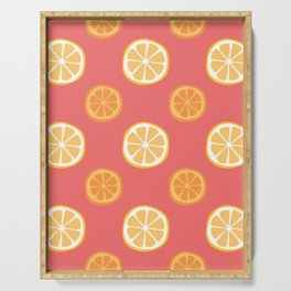 Bright Citrus Pattern - Orange and Lemon Serving Tray