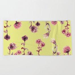 yellow pink flowers Beach Towel