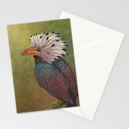 White Crested Hornbill Stationery Cards