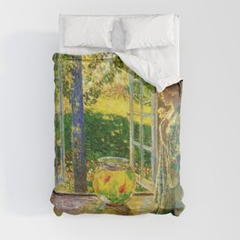 Classical Masterpiece 'The Goldfish Window' by Frederick Childe Hassam Comforters