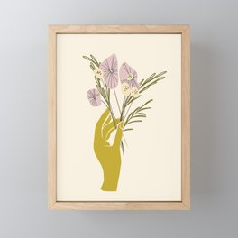 Yellow Hand Florals Framed Mini Art Print