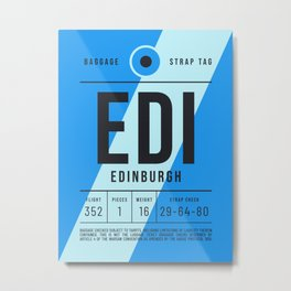 Luggage Tag E - EDI Edinburgh Scotland Metal Print