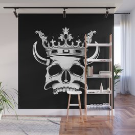horned and crowned skull illustration Wall Mural