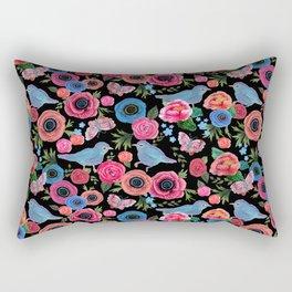 Mod floral bright & butterflies & birds Rectangular Pillow