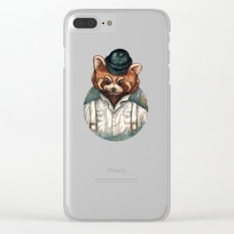 Cute Red Panda in Bowler hat Clear iPhone Case