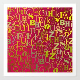 Golden alphabet soap over purple background Art Print