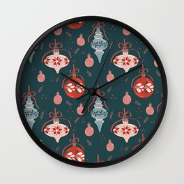 Floral Christmas Baubles Wall Clock