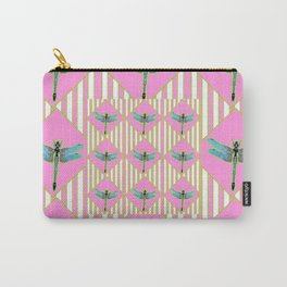PINK COLOR BLUE DRAGONFLY GEOMETRIC ART STRIPES ARTWORK Carry-All Pouch