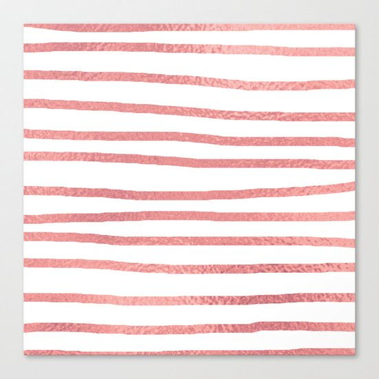 Simply Drawn Stripes Warm Rose Gold on White Canvas Print