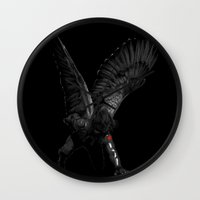 the winter soldier Wall Clocks featuring winged winter soldier by Zee Mendoza