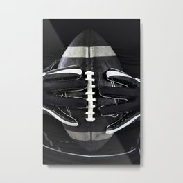 Gloved hands holding an American Football Metal Print