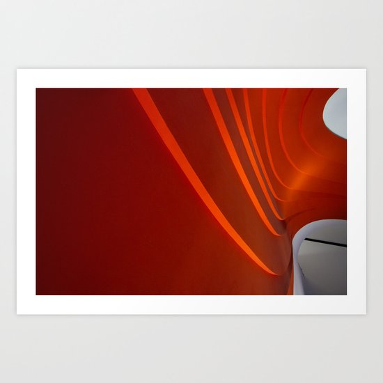White and Red with lines Art Print