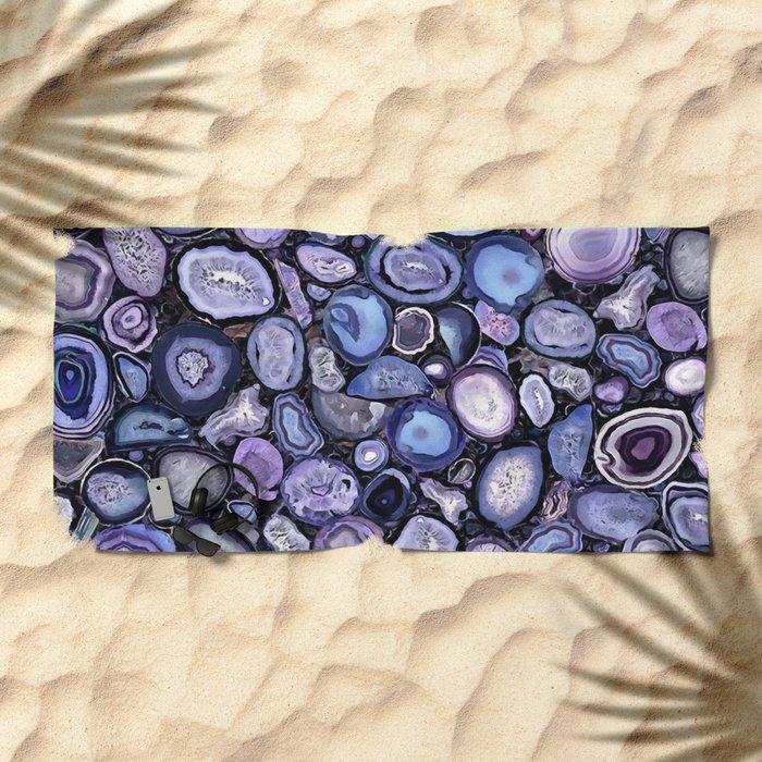 Agate crystals Beach Towel