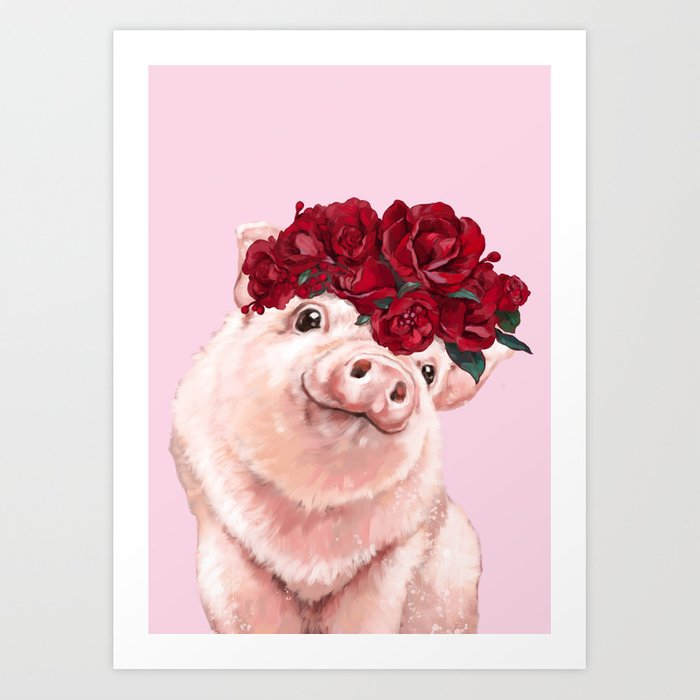 Baby Pig with Rose Flower Crown in Pink Art Print