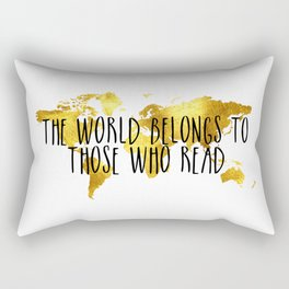 The World Belongs to those Who Read - Gold Rectangular Pillow