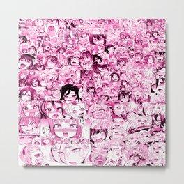 Ahegao Hentai Collage pink Metal Print