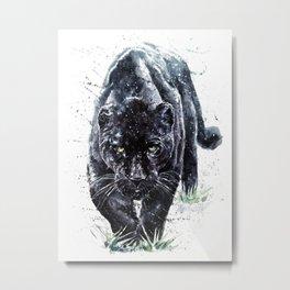 Panther watercolor painting predator animals puma jaguar Metal Print