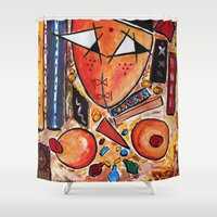 casablanca Shower Curtains featuring Original Art Painting: Women in the Shower by Hassan Hamdi by HassanHamdi