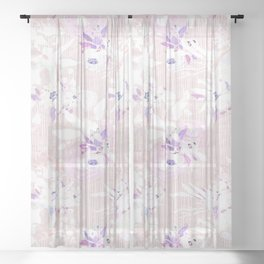 Girly pink lilac white modern white stripes floral Sheer Curtain