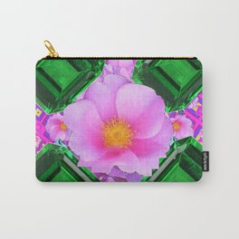 May Green Emerald Gems & Pink Roses Fuchsia Art Carry-All Pouch