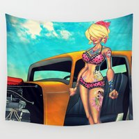 rockabilly Wall Tapestries featuring Rockabilly babe by Quetzal Revolver
