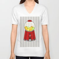 gumball V-neck T-shirts featuring Gumball Machine. by Bedelia June