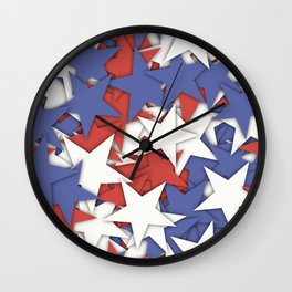 Red blue white stars Wall Clock