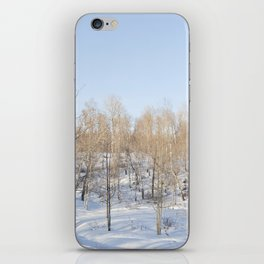 Snowfall and treetops iPhone Skin