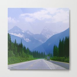 Famous Ice Highway Through Canadian Rockies Snowy Mountains Metal Print