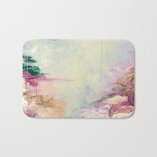 WINTER DREAMLAND 1 Colorful Pastel Aqua Marsala Burgundy Cream Nature Sea Abstract Acrylic Painting  Bath Mat