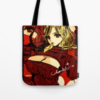 pinup Tote Bags featuring COLLAGE PINUP  by Chandelina