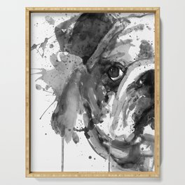 Black And White Half Faced English Bulldog Serving Tray