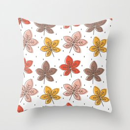 cute colorful chestnut leaves pattern background illustration Throw Pillow
