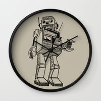 robot Wall Clocks featuring Robot. by Scott Mckenzie-Lee