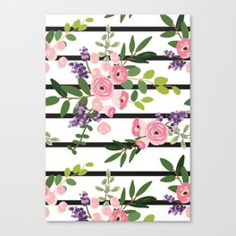 Pink roses bouquets with greenery on the striped background Canvas Print