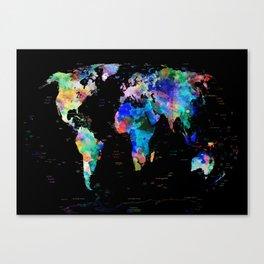 world map political watercolor Canvas Print