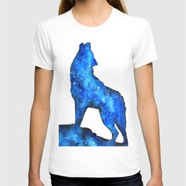 Howling Wolf | Space Wolf | Double Exposure Wolf | Wolf Painting | Blue Wolf T-shirt