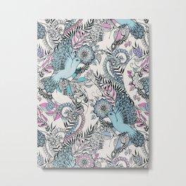 Flight of Fancy - pink, teal, cream Metal Print