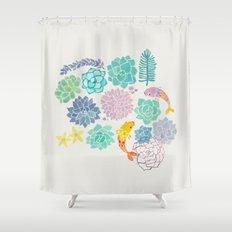 A Serene Succulent Underwater World Shower Curtain