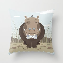 hippo on the banks of a river Throw Pillow