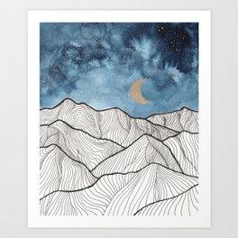Indigo & gold landscape 11 Art Print